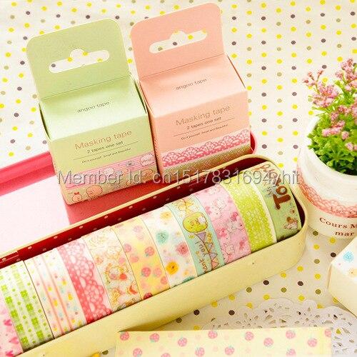Sweet Fresh Style 2PCS Cartoon Masking Tapes Decorative Washi Adhesive Tape DIY Sticker Label