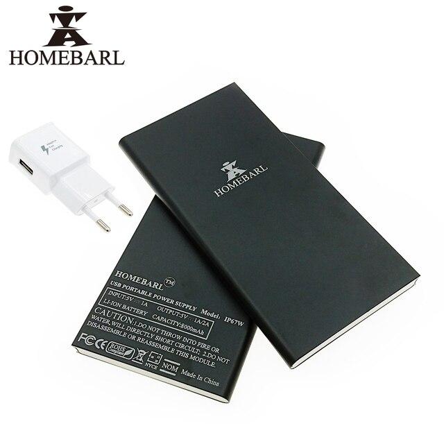 Оригинал HOMEBARL Тонкий 9 ММ С ЕС USB Зарядное Устройство Внешний Аккумулятор Power Bank 8000 МАч Bateria Резервного Копирования Зарядное Устройство случае 10B7