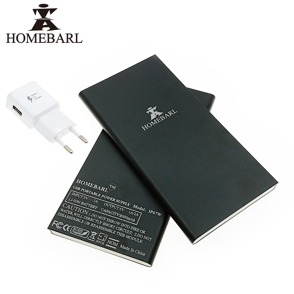 Original HOMEBARL Slim 9MM With EU USB Wall Charger External Battery Pack Power Bank 8000Mah Bateria Backup Charger Case 10B7