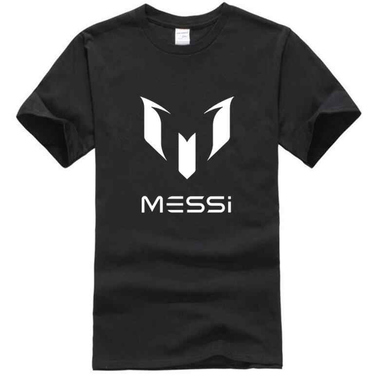 Mannen merk kleding Barcelona MESSI Mannen T-shirt toevallige katoen korte mouwen mannen straat hiphop zwart wit T-shirt S-XXL