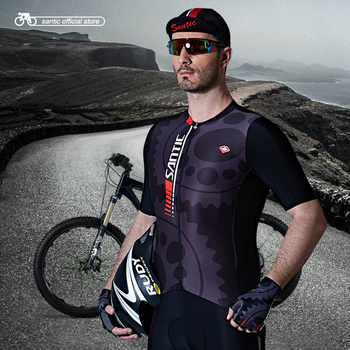 Santic Men Cycling summer Jersey Pro Fit SANTIC N-FEEL Antislip Sleeve Cuff  Road Bike MTB Short Sleeve MTB Shirt M7C02111