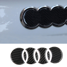 For Audi A3 8V A4 B6 B7 B8 B9 A6 C6 C5 C7 Q3 Q5 Q7 Rear Logo Carbon Fiber Cover Decal Sticker Car Styling Exterior Accessory цены