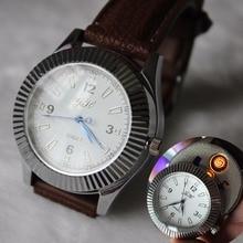 5ชิ้น/ล็อตมีค่าใช้จ่ายซิการ์บุหรี่W Indproof Flamelessนาฬิกาควอตซ์ลำลองสำหรับบุรุษนาฬิกาข้อมือUSBเบา