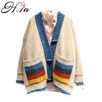 H.SA 2019 Women Knit Cardigans V neck Striped Jumpers Colorful Striped Patchwork Knitwear Loose Sweaters Button Up Sweater Coat