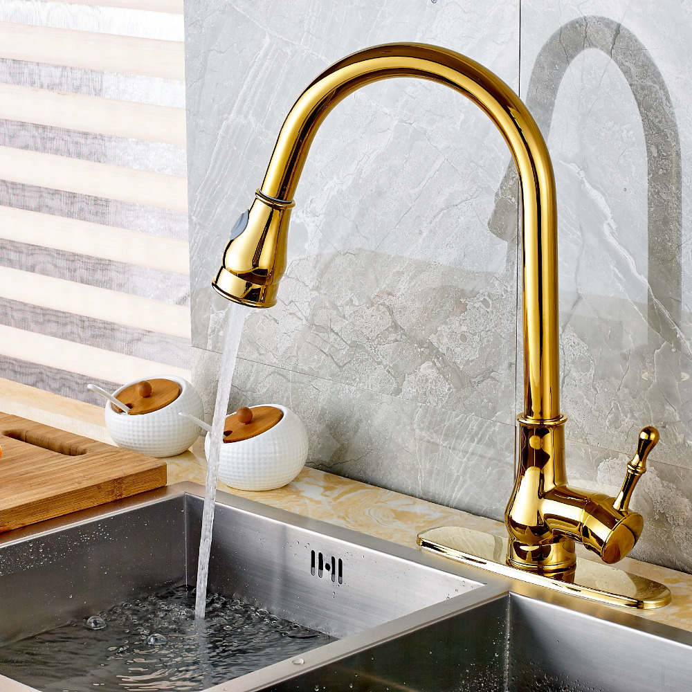 Uythner Modern Single Handle Golden Brass Kitchen Faucet Vessel Sink Mixer Tap Pull Out Sprayer Round Plate kitchen chrome plated brass faucet single handle pull out pull down sink mixer hot and cold tap modern design