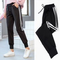 PENERAN Sweatpants Women Sports Pants Black Stripe Jogging Pants Woman Autumn Running Sport Trousers Female Dry Fit 2019 XL New