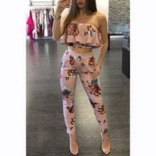 Women Summer Wedding Jumpsuit Fashion Ruffles Romper Sexy Off Shoulder Floral Printed Party Playsuit Clubwear For WS351X