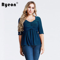 Ryeon Plus Size Tops Shirts Women Spring Summer Sexy O Neck Half Sleeves Blouse Solid Slim
