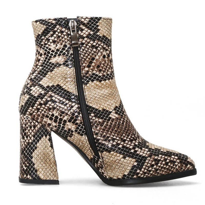 Image 4 - Snake Ankle Boots Women Autumn Winter Lady High Heels A275 Fashion Woman Gold Silver Brown Red Buckle Zipper Pointed Toe Shoes-in Ankle Boots from Shoes