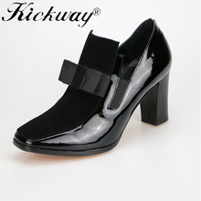 High Heels Pumps Square Toe Genuine Leather Shoes