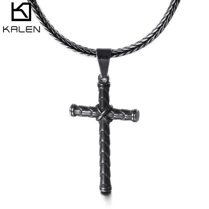 KALEN New Stainless Steel Cross Pendant Necklace For Men Brushed Matte Crucifix Charm 50cm Chain Choker Necklace Prayer Jewelry
