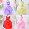 Free Shipping Retail Girl Dresses Children Dresses Party Dress Summer Princess Girl Dresses Wedding Big Flower Pearls 6 Colors