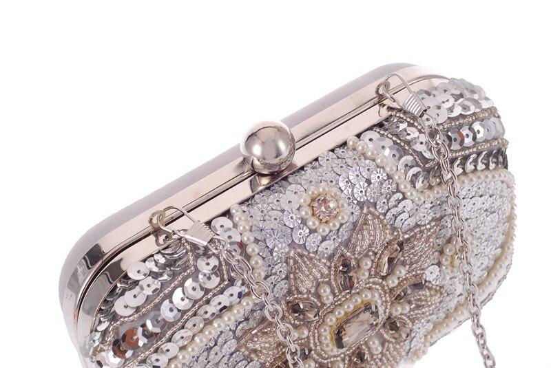 Soirée De Main Femelle Mini Mariage Occasionnels Femmes D'embrayage Perles Floral Paillettes À Hasp Sac Partie Épaule En Mode Métal Rabat 5EgwqE