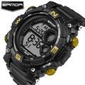 Sanda New Stainless Steel Back LED Watch Women Man Dress Analog Wristwatch Men Fashion Casual Digital Watch Unisex Digital watch