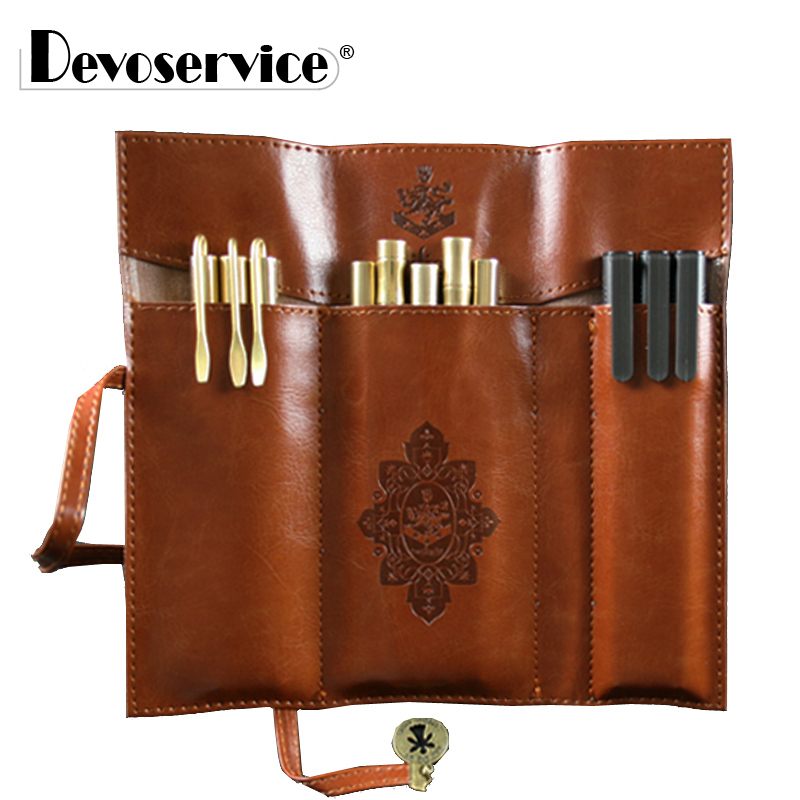 1 Pcs Vintage Pencil Case - PU Leather Pencil Bag Vintage Style Stationery Pen Case Office School Supplies For Girls Pen Bag
