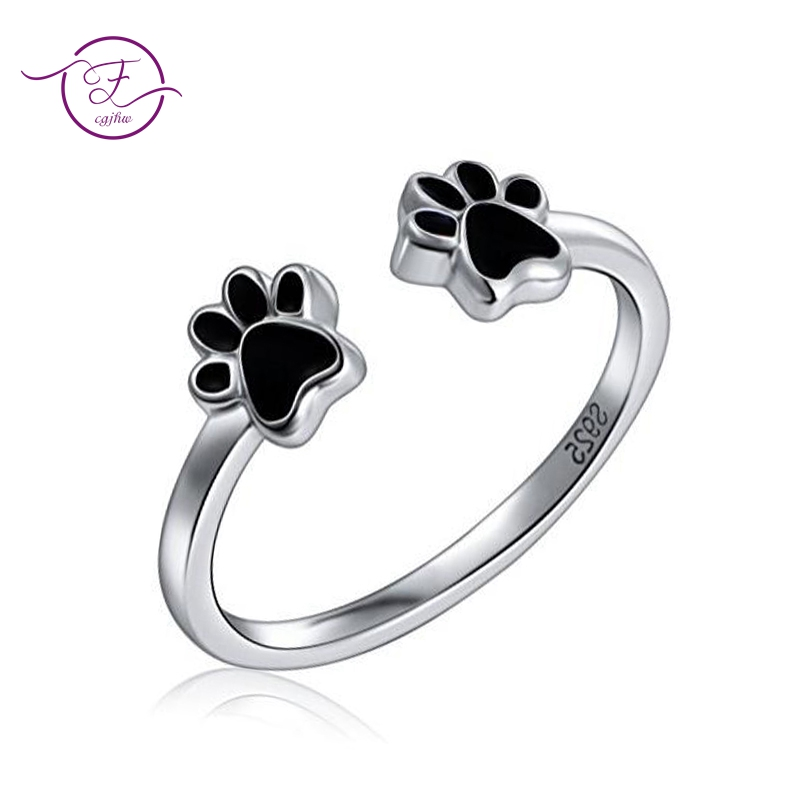 New Arrival Fashion Animal Cat Paw Finger Ring For Women Authentic 925 Sterling Silver Jewelry Rings Party Anniversary Gift