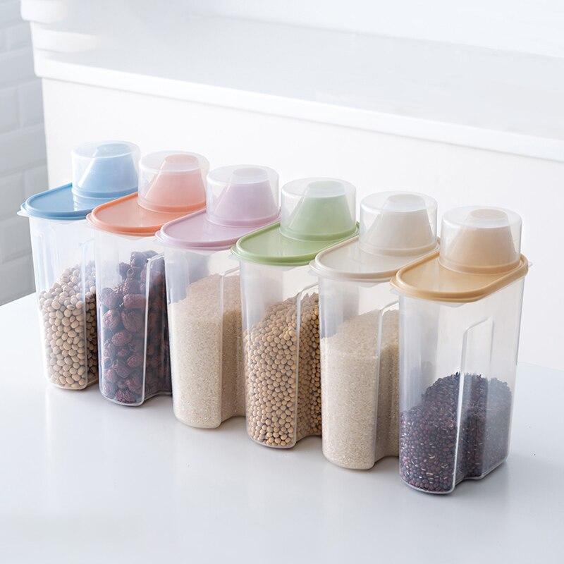 Caja de almacenamiento de alimentos PP conjunto de envases transparentes de plástico con tapas para cocina frascos de botellas de almacenamiento de granos secos tanque 1.9L-2.5L H1211