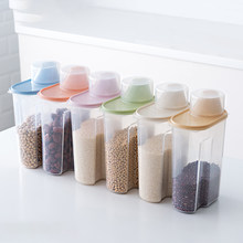PP Food Storage Box Plastic Clear Container Set with Pour Lids Kitchen Storage Bottles Jars Dried Grains Tank 1.9L-2.5L H1211(China)