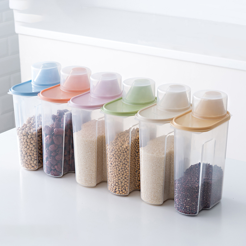 PP Food Storage Box Plastic Clear Container Set with Pour Lids Kitchen Storage Bottles Jars Dried Grains Tank 1.9L-2.5L H1211 title=