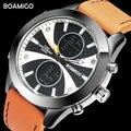 BOAMIGO Брендовые мужские спортивные часы модные часы Оранжевые кожаные кварцевые наручные часы 30 м водонепроницаемые часы в подарочной короб...