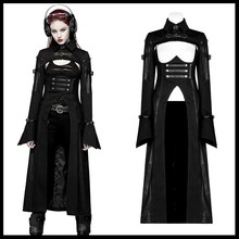 PUNK RAVE Women Punk Futuristic Personality Long Coat Gothic Fashion Military Black Sexy Long-sleeved Jacket