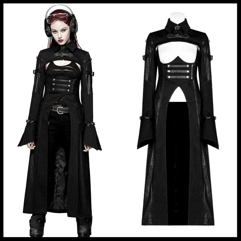 PUNK RAVE femmes Punk futuriste personnalité Long manteau gothique mode militaire noir Sexy à manches longues femmes veste manteau
