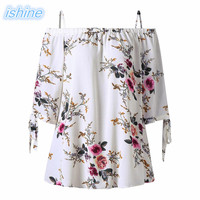 Plus Size 5XL Summer Women Blusas 2018 Fashion Off Shoulder Tops Female Chiffon Blouse Mujer Flowers