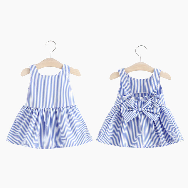 567033181 Baby Girl Dress Summer Beach Strip Backless Bow Dresses For Kids Infant  With Small Gifts Lace Pink&Blue Lovely Children Clothing