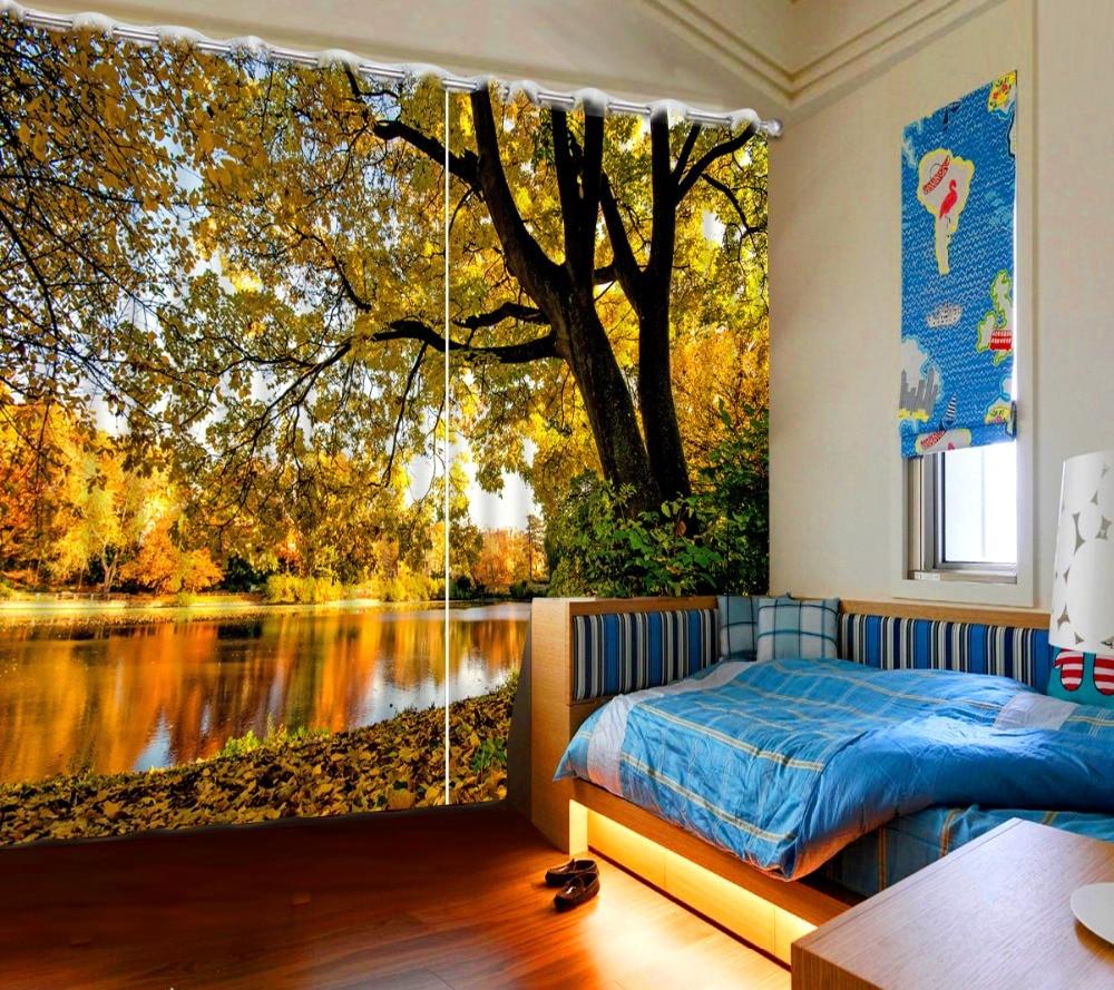 Hologram Wallpaper Hd Beautiful Autumn Scenery Window 3d Curtain Nature For