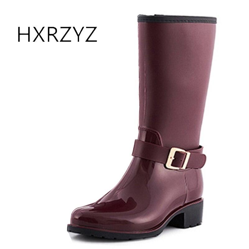 HXRZYZ women rain boots buckle rubber high-heeled boots female 2017 fashion slip-resistant overstrung comfort rubber women shoes hxrzyz big size rain boots new fashion non slip rubber boots waterproof fishing boots in the tube rain shoes women