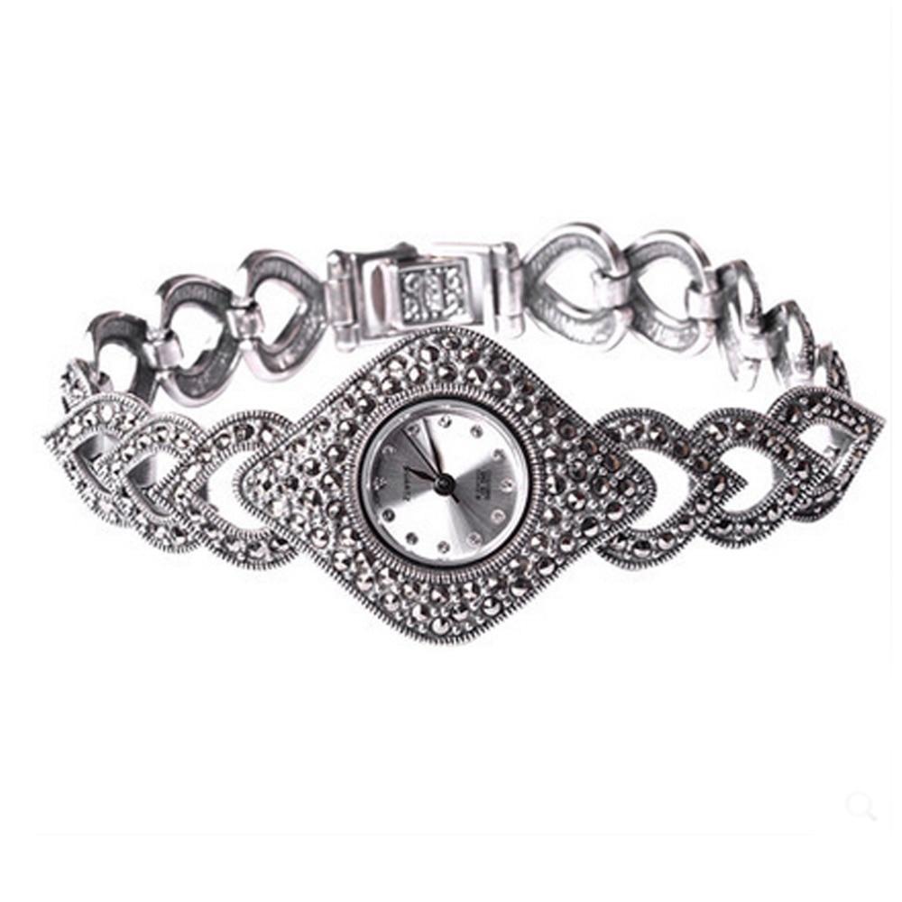 Jade Angel Thail Sterling Silver Marcasite Women's Antique Watch Women's Jewelry 925 Silver Bracelet
