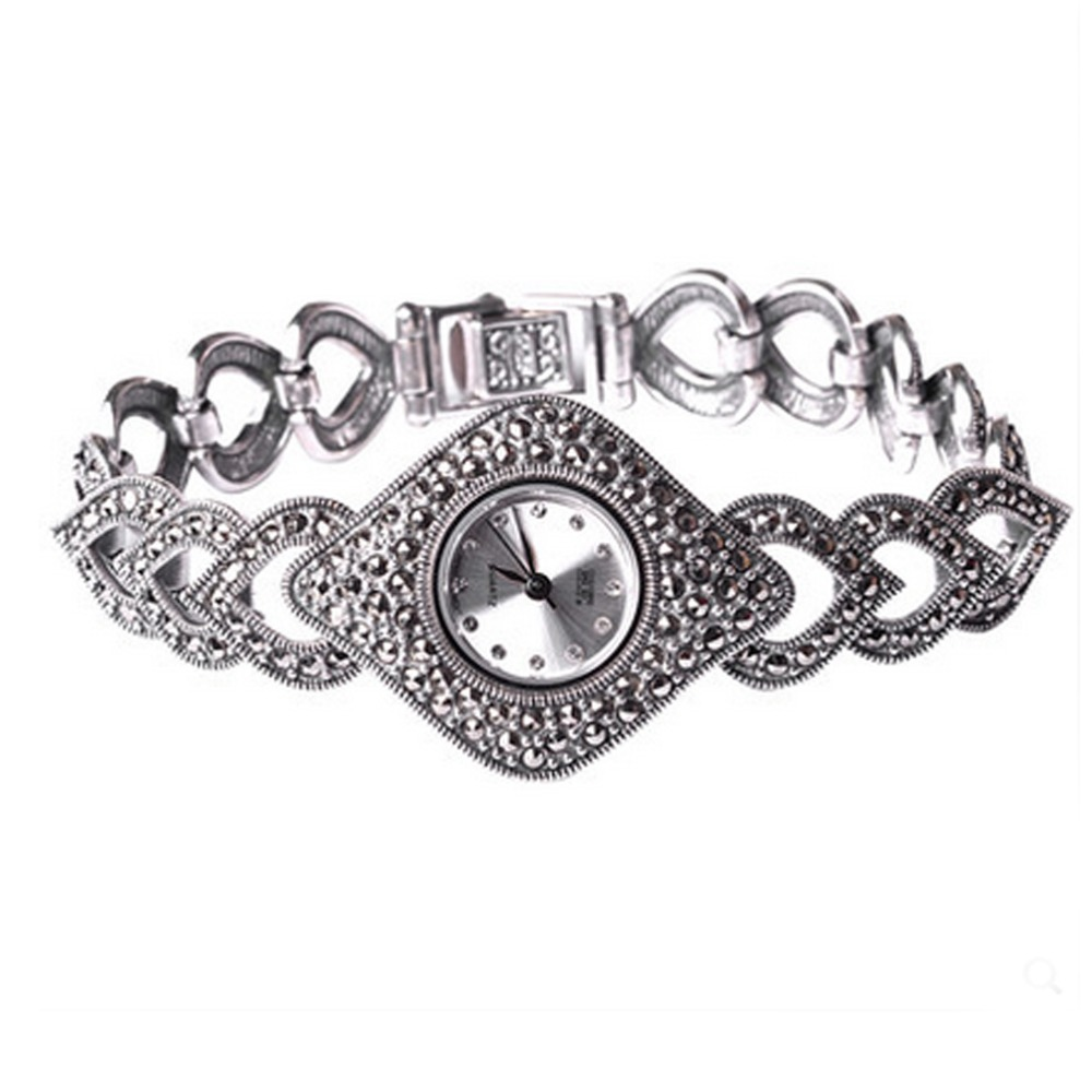 Jade Angel Thail Sterling Silver Marcasite Womens Antique Watch Womens Jewelry 925 Silver BraceletJade Angel Thail Sterling Silver Marcasite Womens Antique Watch Womens Jewelry 925 Silver Bracelet