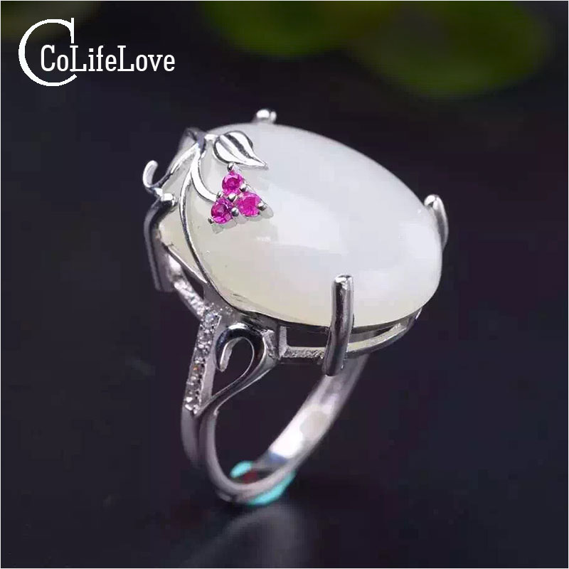 Chinese stylisy white jade ring high quality 12 mm * 16 mm milk white natural jade real 925 sterling silver jade ring for woman 23 234e5qhaw 00 01 white