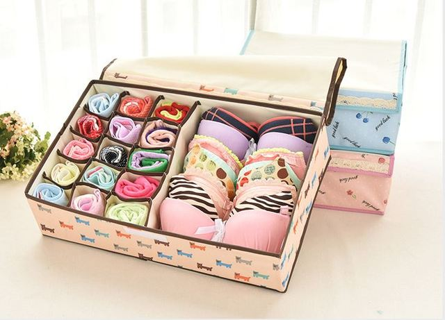 Charmant Simple Life Non Woven Multicolor Storage Box Container Divided Box Lidded  Storage Basket For Socks Ties