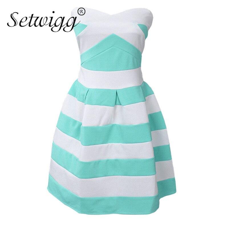 Setwigg summer fashion sexy strapless corto dress sweet azul/blanco a rayas patc