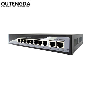 10/100M Ethernet 8 PoE Switch 10 Ports with Two UpLink Built-in Power 24V Power-over-Ethernet Switch for Wireless AP, IP camera