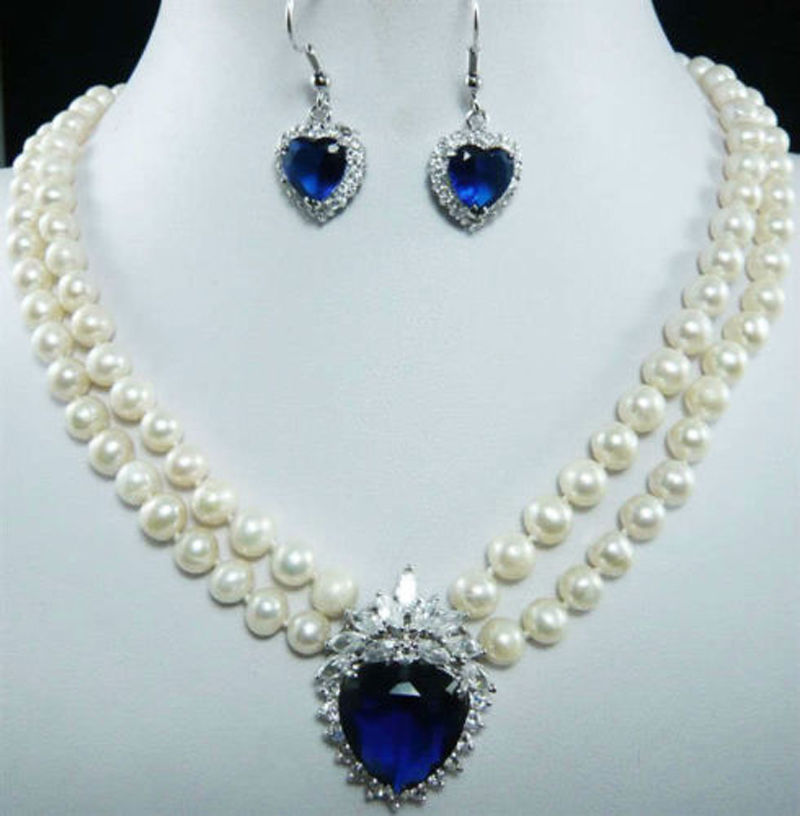 free P&P****7-8mm Natural White Pearl Blue Crystal Pendant Necklace + Earrings Set