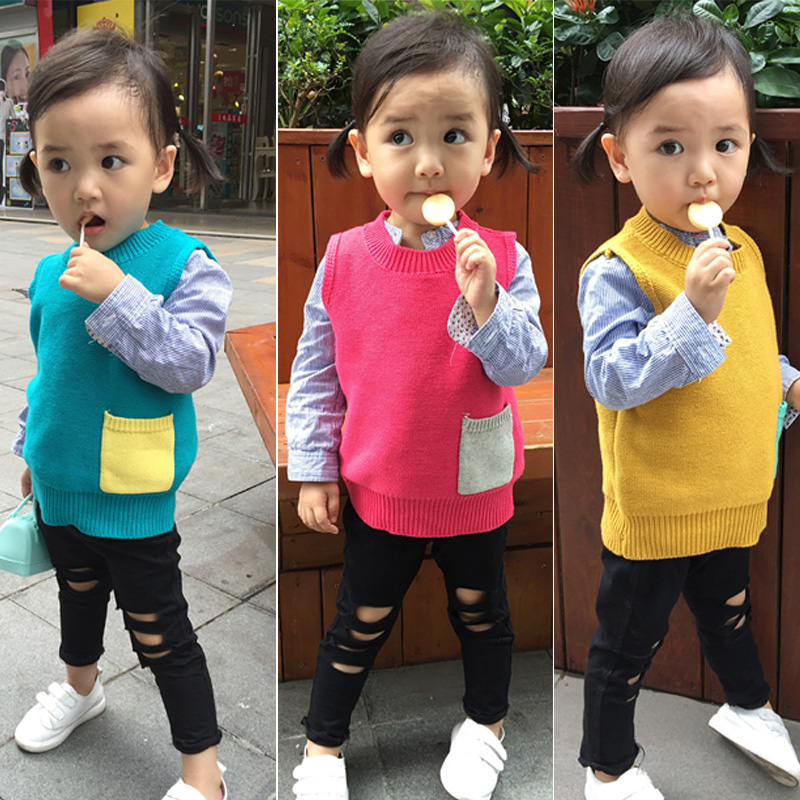 2016 new autumn vest girls vest children font b clothing b font knitted sweater font b