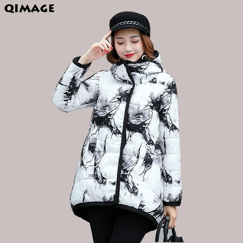 QIMAGE Graffiti Style Winter Coats Women Short Parkas 2017New Thick Warm Cotton Parkas Jackets Female Outerwear