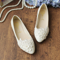 2017 flat heel flat wedding shoes for women white lace flower pearl women's bridal shoes sweet lace wedding shoe