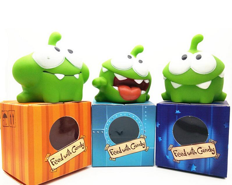 1Pcs Rope frog vinyl Rubber android games doll Cut the Rope OM NOM Candy Gulping Monster Toy Figure Phone Game rattle