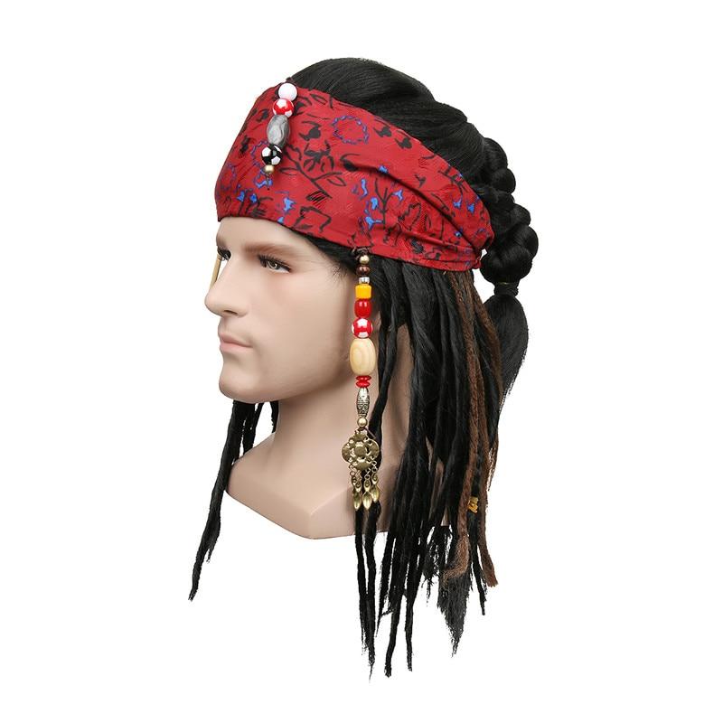 c3793c6081286 Takerlama Piratas del Caribe pirata capitán peluca exacta Bandana Dreadlock  DLX Jack Sparrow peluca sombrero Cosplay disfraz en Accesorios disfraces  hombre ...