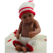 Full Soft Silicone Reborn Baby Doll 11 Inch African American Black Girl Real Alive Lovely Boy Gift
