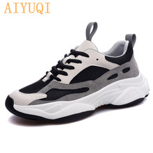 AIYUQI Women sneakers platform fashion mesh breathable shoe lace up singles cowhide casual student shoes