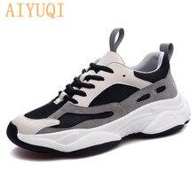 купить AIYUQI Women sneakers platform fashion mesh breathable shoe lace up singles cowhide casual student shoes дешево