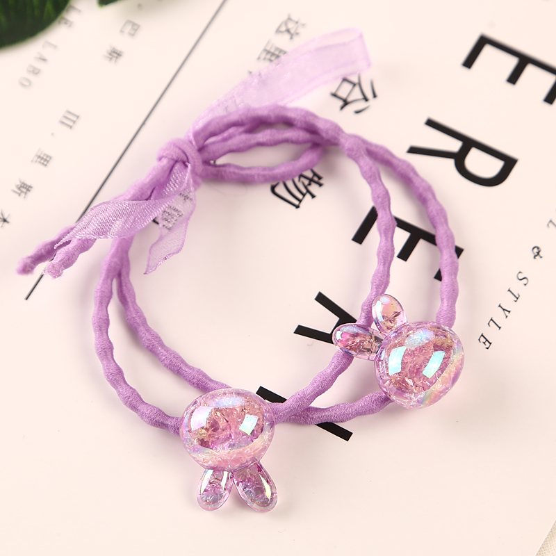 1PC Handmade New Arrival Purple Shiny Beads Rubber Bands Headwear Women Girl Tie Gum Elastic Hair Rope Child Hair Accessories