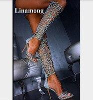 2018 летние модные ажурные высокие сапоги трубы на тонком высоком каблуке, пикантные женские сапоги, однотонные модные пикантные сандалии, дв