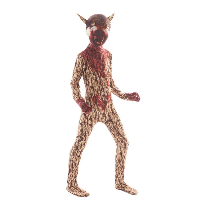 Купить с кэшбэком Horror Frankenstein Clown Halloween Costume for kids Scary Spider Skull Costume Fancy Dress Creepy Demon Purim Boys Jumpsuit