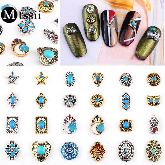 Mtssii Retro Metal Nail Art Decoration Turquoise Stone Nail Art Metal Nail  Studs Accessories DIY Manicure - Aliexpress.com : Buy Mtssii Retro Metal Nail Art Decoration