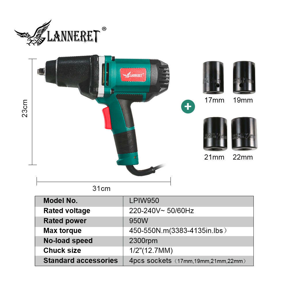 Image 2 - LANNERET 950W Electric Impact Wrench 450 550Nm Max Torque 1/2 inch Car Socket Household Professional Wrench Changing Tire Tools-in Electric Wrenches from Tools on